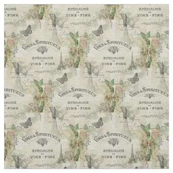 Paris Vintage Wine and Roses Fabric