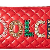 Dolce & Gabbana Womens Quilted Nappa with Dolce Studded Patch Zip Mini Bag