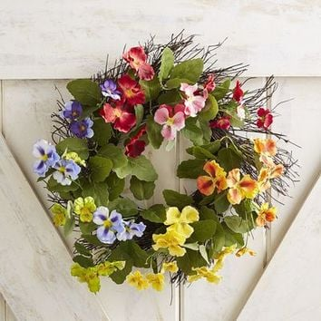 "Faux Multicolor Pansy Mini 13"" Wreath"