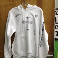 Justin Bieber Tattoo print on  white Pullover hoodie with sleeve print.