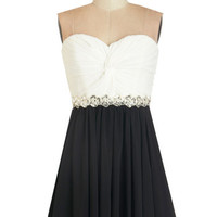 ModCloth Strapless A-line Peace and Harmonics Dress