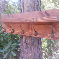 Rustic Plank Wood Hanging Coat Rack With Shelf