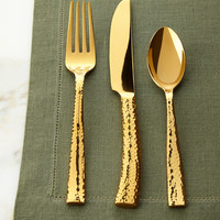 20-Piece Paris Golden Hammered Flatware Service - HAMPTON FORGE