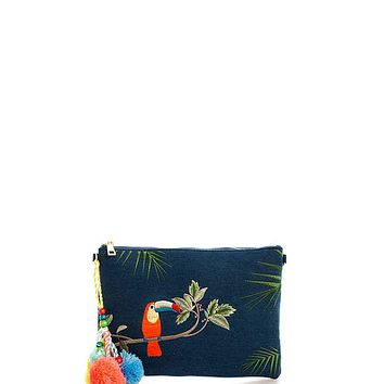 Princess Embroidered Denim Clutch With Long Strap