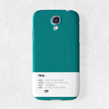 Samsung Galaxy s4 Case Samsung Galaxy s3 Case Unique Phone Case Pantone Phone Case Plain Phone Case Samsung s4 Case Phone Covers Teal Case