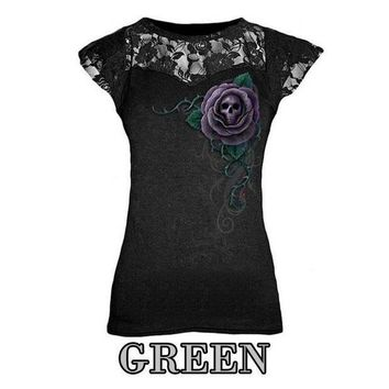 PEAPGC3 Summer Punk Style Lace Patchwork Women T-Shirt Skull Printing Sexy O-Neck Black Top Cap Sleeveless Shirt Tee Top LJ8404E