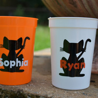 5 personalized Halloween cat favor party cups