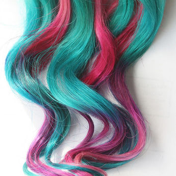 Teal Tye Dye Clip In Hair Extensions, Ombre Hair, Tye Dye Tips, Hair Wefts, Human Hair Extensions, Hippie hair, Halloween, Peacock Wedding