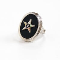 Vintage Sterling Silver Order of the Eastern Star Ring - Masonic Black Glass Art Deco 1920s 1930s Size 4 Filigree Jewelry