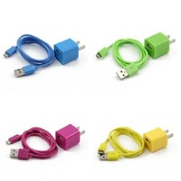 Caetle(tm) 4X Colorful 2in1 US Plug Wall Charger Adapter + Micro USB Data Sync Charger Cable Cord for Samsung Galaxy S2 S3 i9100 i9300 S5830(Hot Pink, Green, Yellow, Sky Blue)