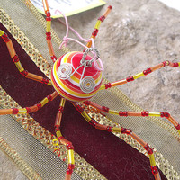 Red, Yellow and Orange Beaded Christmas Octopus Ornament