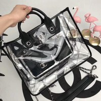 CHANEL Shopping  Handbag Tote Satchel Shoulder Transparent jelly Bag C-3A-XNRSSNB Black
