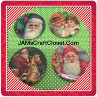 Santa Claus Magnets Vintage Christmas Holiday Decoration Kitchen Decor SET OF 4