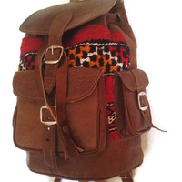 Moroccan Leather Handmade Kilim Brown Backpack. Bag