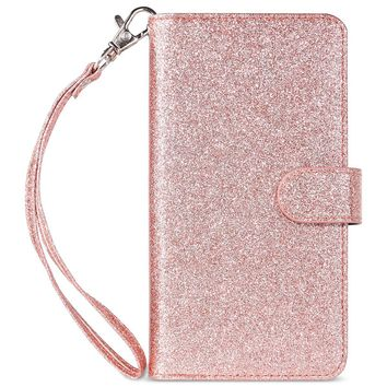 iPhone 7 Plus Case, iPhone 8 Plus Wallet case, ULAK Glitter Magnetic Detachable PU Leather Wallet Multi Credit Card Holders Flip Case Cover for Apple iPhone 7 Plus / iPhone 8 Plus - Rose Gold Bling