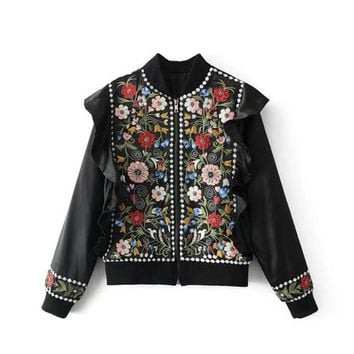 Women Black Satin Floral Embroidery Bomber Jacket Sequin Coat Long Sleeve Ruffles Flight jackets Casual Jackets punk outwear Top