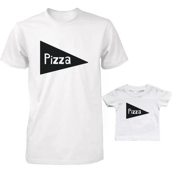 Pizza Slice Daddy and Baby Matching Shirt Set Cute Father Shirts and Infant Tees