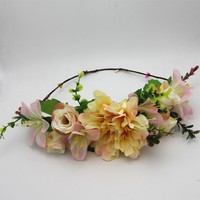 Fashion handmade Rose Flower Wreath Crown Garland Halo for Wedding travel Festivals Girl Rose Wreath Headpiece decorations