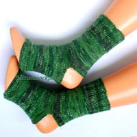 Hand knitted yoga socks Green gray yoga socks Dance socks Pilates socks Pedicure socks Hand knit leg warmers Feet warmers Hand knitted socks