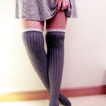 Over the Knee Socks Grey Lace Boot Socks Lace Pointelle Otk Socks Over the Knee Lace Socks Womens Tall Long Grey Boot Socks READY TO SHIP