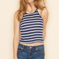 Striped High Neck Cami