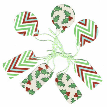 Stripes, Holly, Chevron, 7 Gift Tags, Assorted Gift Tags, Red, Green, Christmas, Christmas Ornament, Christmas Tree, Wine Glass Tag, Party
