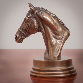 Horse's Head Bronze Figurine