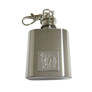 Silver Toned Etched Angry Elephant 1 Oz. Stainless Steel Key Chain Flask