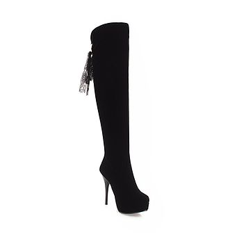 Tall Boots Platform High Heels Winter Shoes for Woman 6242