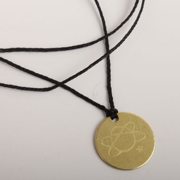 catbird brass disc necklace/bracelet-planet stamp