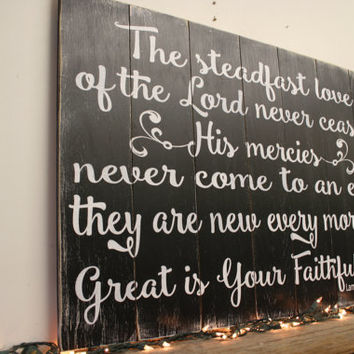 Great Is Thy Faithfulness Rustic Wood Sign, Christian Wall Art,
