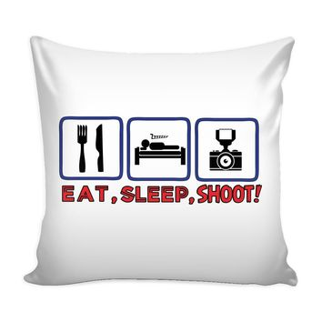 Funny Photography Camera Graphic Pillow Cover Eat Sleep Shoot
