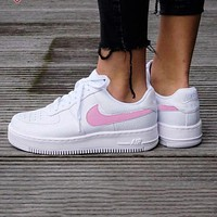 Nike Air Force 1 Fashion Women Men Casual Running Sport Shoes Sneakers White(Pink Hook)