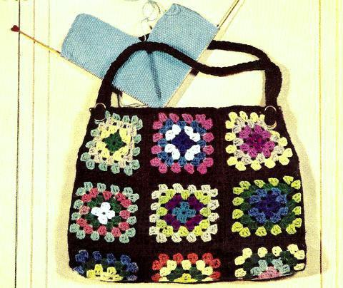 Granny Square Bag Purse Tote Crochet from shellbeestreasures.com