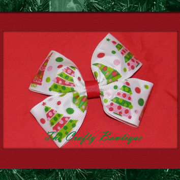 Glittery Christmas Tree ~ Boutique Hair Bow ~ Red, White and Green ~ Christmas Bow ~ Big Hair Bow ~ Christmas in July ~ Bow for Headbands