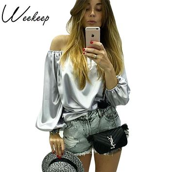Weekeep 2016  Autumn Sexy Off Shoulder Glossy Blouse Shirt Soft Satin Flare Sleeve Tops Elegant Party Women Blouses Blusas