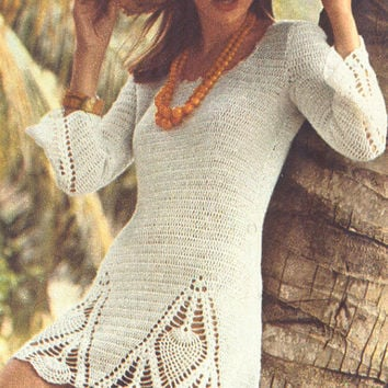 Vintage 1970s Pineapple Crochet Tunic Mini Dress Pattern PDF 7309