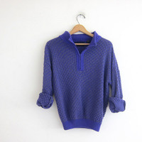 Vintage henley sweater. purple and gray loose knit sweater.zipper front sweater. collar sweater