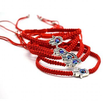 New Handmade Braided Rope Bracelets Red Thread Blue Eye Charm Bracelets Bring You Lucky Peaceful Bracelets Adjustable Length