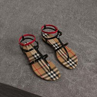 Burberry Vintage Check And Leather Sandals #438