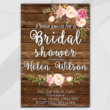 Watercolor Bridal Shower Invitation, Rustic wood Invitation, Custom diy wedding, etsy Bridal Shower invitation XB002w-4