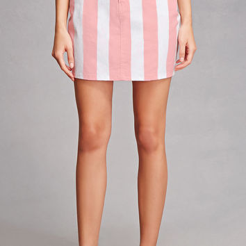 Motel Striped Denim Mini Skirt