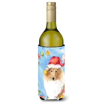 Christmas Lights Collie Wine Bottle Beverage Insulator Hugger CK2489LITERK
