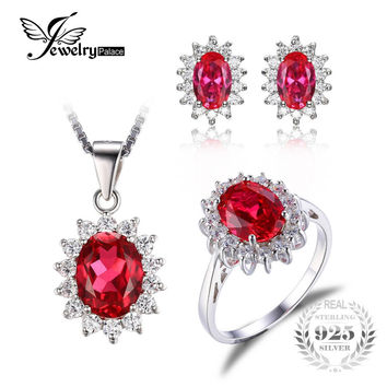 JewelryPalace Princess Diana Jewelry Engagement Wedding Pigeon Created Ruby Jewelry 925 Sterling Silver Ring Pendant Earring