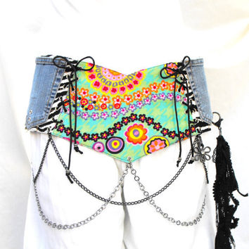 Corset style belt, belt with chains, tribal fusion belt, festival belt, clubwear, recycled pockets, zebra print accessory, belt with pockets