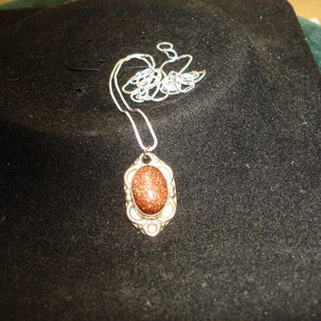 Goldstone on a 925 Silver Necklace