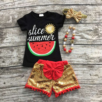 baby girls summer outfits watermelon clothes top black sequin shorts boutiques clothes with matching headband and necklace