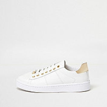 White metallic trim platform sneakers - plimsolls / sneakers - shoes / boots - women