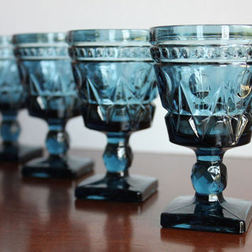 "Blue Colony Park Lane Goblets 4.5"" H, Set of 4 Indiana Glass Durable Vintage Retro Pedestal Shot Glasses"