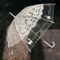 1PCS Romantic imitation lace Transparent cute cat Large long Rain Wind Umbrella For Lolita Women Travel